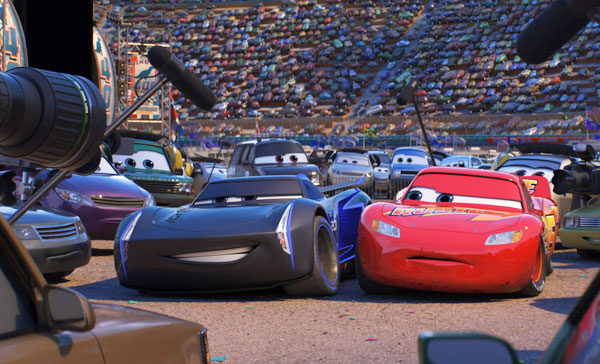 Lightning McQueen (voiced by Owen Wilson) and his rival, Jackson Storm (Armie Hammer) in CARS 3 (2017)