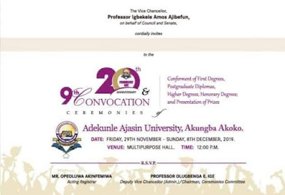 AAUA 9th Convocation Ceremony Programme of Events 2019