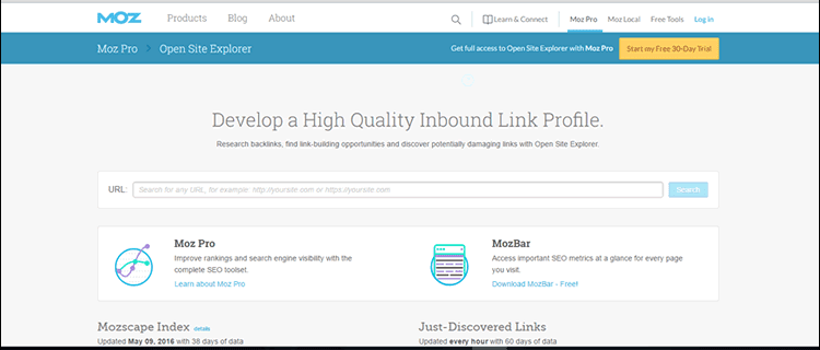 Use Open Site Explorer to develop a high quality inbound link profile