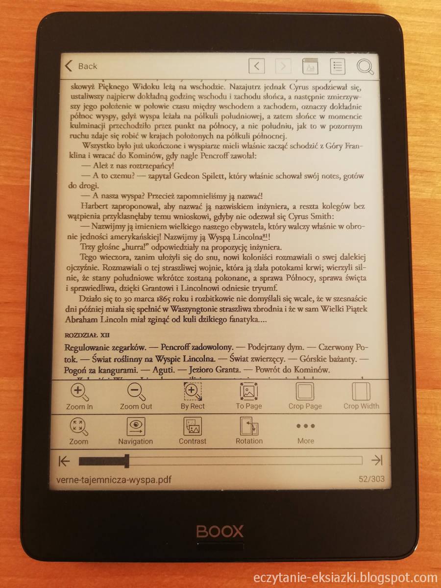 Onyx Boox Nova – uzyskany efekt ręcznego przycinania marginesów w pliku PDF