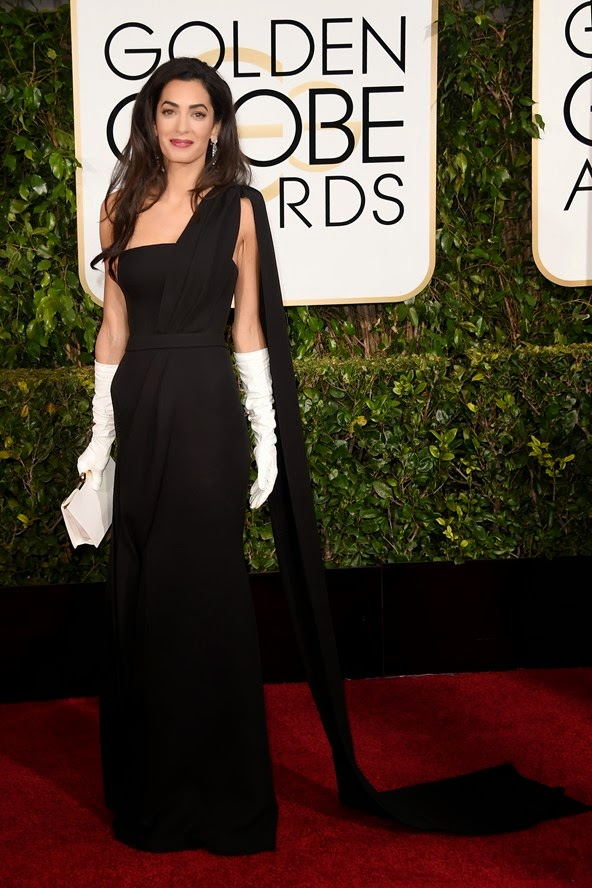 Amal Clooney in a Dior gown, Harry Winston jewellery and long white gloves at the Golden Globe Awards 2015