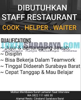 Dibutuhkan Segera Staff Restaurant di Surabaya Terbaru Juni 2019