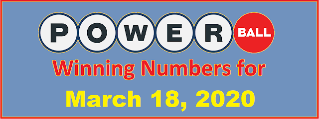 PowerBall Winning Numbers for Wednesday, March 18, 2020