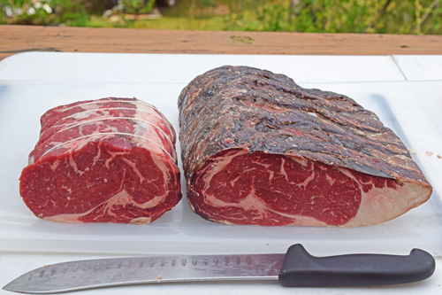 Dry aged, Certified Angus Beef Brand ribeye.  Trimmed on the left, untrimmed on the right.