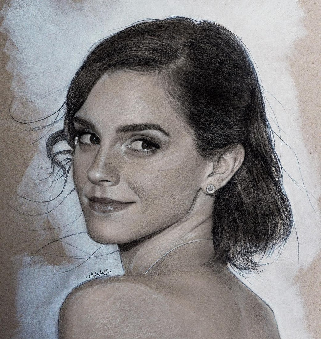 07-Emma-Watson-Justin-Maas-Pastel-Charcoal-and-Graphite-Celebrity-Portraits-www-designstack-co