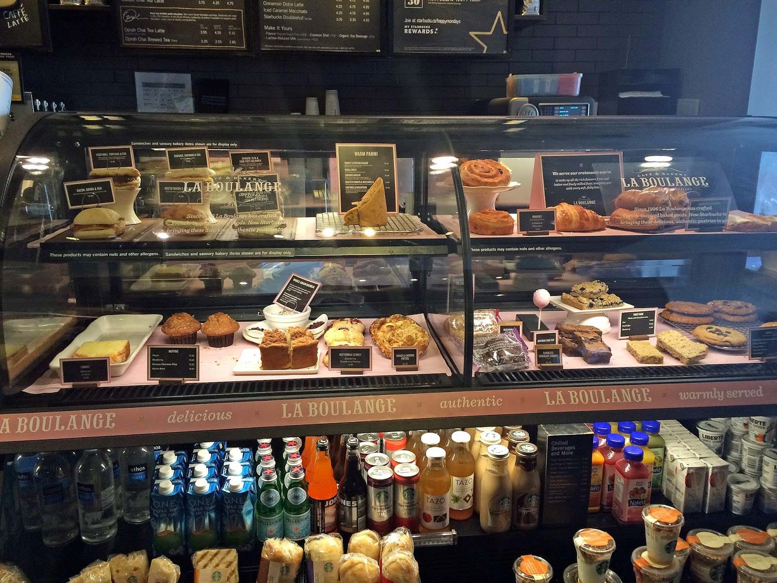 starbucks la boulange bakery canada food menu