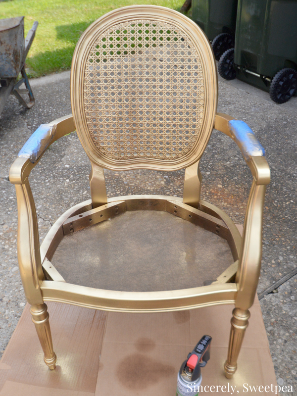 Rustoleum metallic gold paint on a cane chair