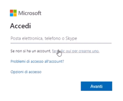 Creare un account microsoft