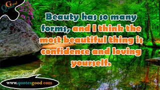beautiful quote -  Beauty has so many forms, and I think the most beautiful thing