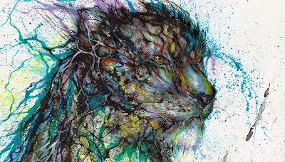 Pintura con salpicaduras contemporanea de leopardo
