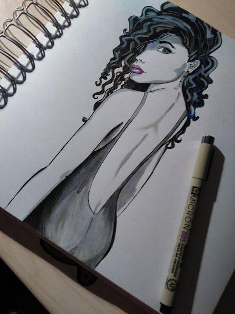 sketch, mujer, dibujo