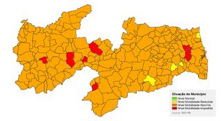 20ª avaliação do Plano Novo Normal aponta 211 municípios paraibanos em Bandeira Laranja