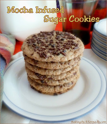 Mocha Infused Sugar Cookies takes a favorite snack to a whole new flavor level. | Recipe developed by www.BakingInATornado.com | #recipe #cookies