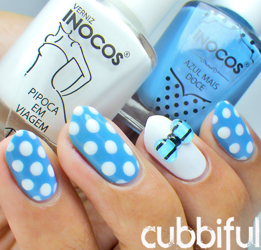Polka Dot Nails with a 3D bow
