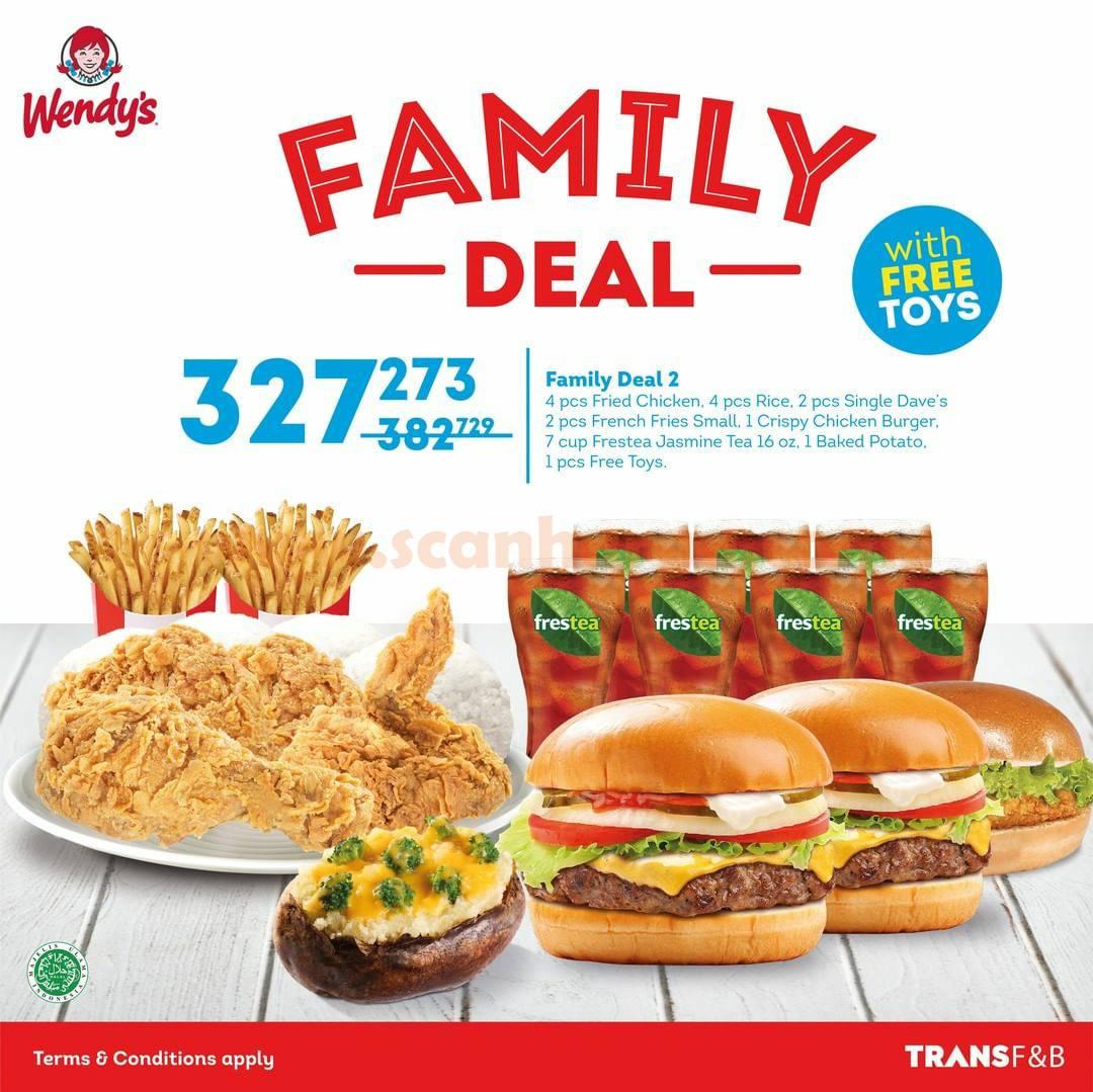 WENDYS FAMILY DEAL! Promo Paket Hemat mulai 130Rb-an