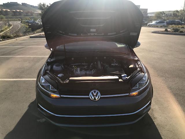 Hood open on 2020 Volkswagen Golf TSI