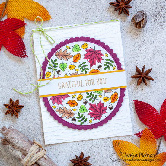 Grateful Fall Roundabout Card by Zsofia Molnar | Fall Roundabout Stamp Set, Circle Frames Die Set and Hardwood Stencil by Newton's Nook Designs