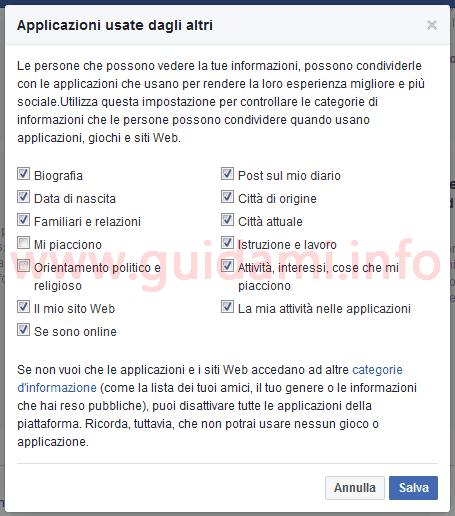 Popup Facebook Applicazioni usate dagli altri