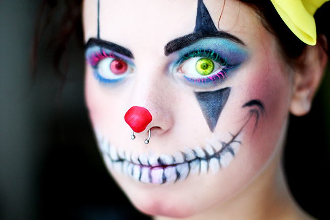 maquillage clown halloween femme trendy dguisement clown salopette femme with maquillage clown. Black Bedroom Furniture Sets. Home Design Ideas
