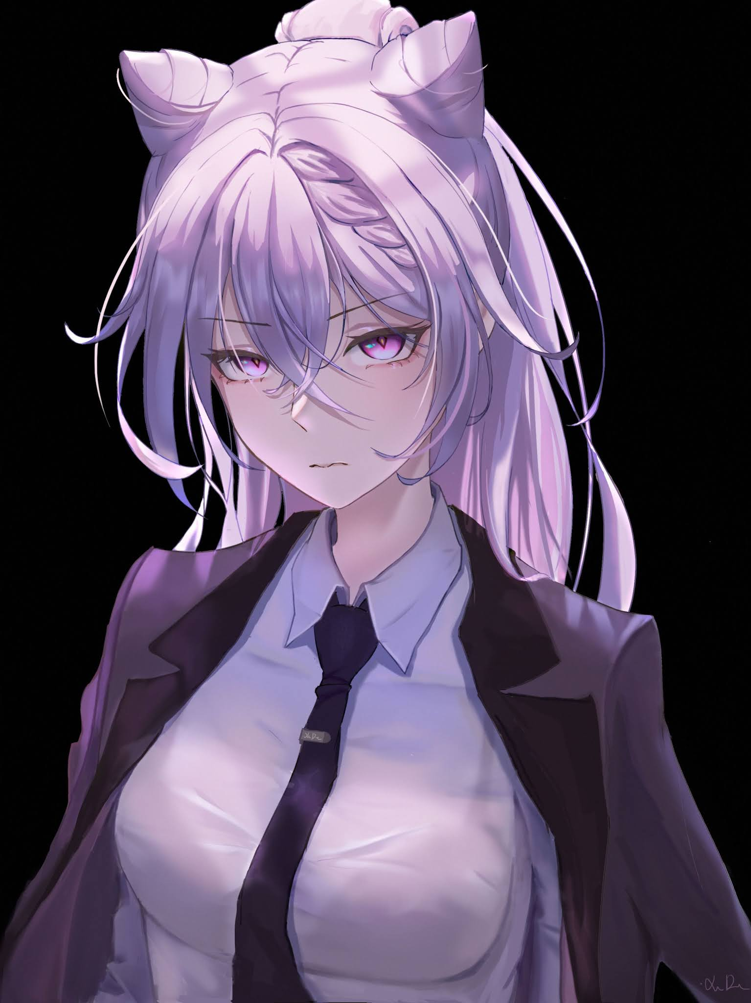 anime girl with white hair and purple eyes