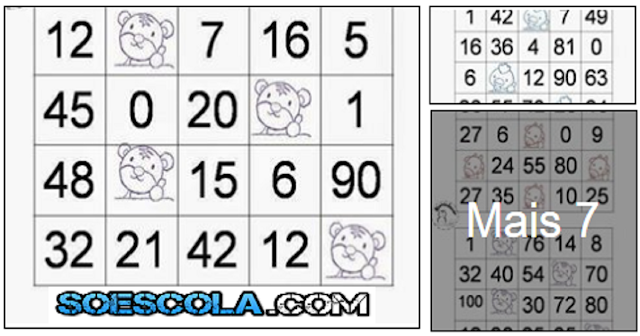 Cartelas para bingo de tabuada