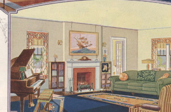 Sears Modern Homes catalog 1925 page 22 showing colorful views of interior of Sears Rembrandt rooms