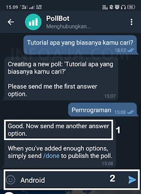 Pilihan jawaban polling di telegram