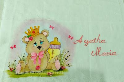 fralda de boca com pintura de ursinha princesa