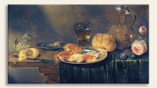 Alexander Adriaenssen, Gül Yengeç ve Ekmekli Natürmort