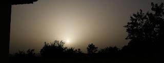Late evening sun shining through the haze