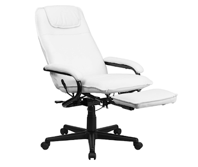 High Backing White Leather Executive Reclining Ergonomic Swivel Office Chair with Arms