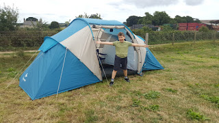 Dan Jon modelling the tent