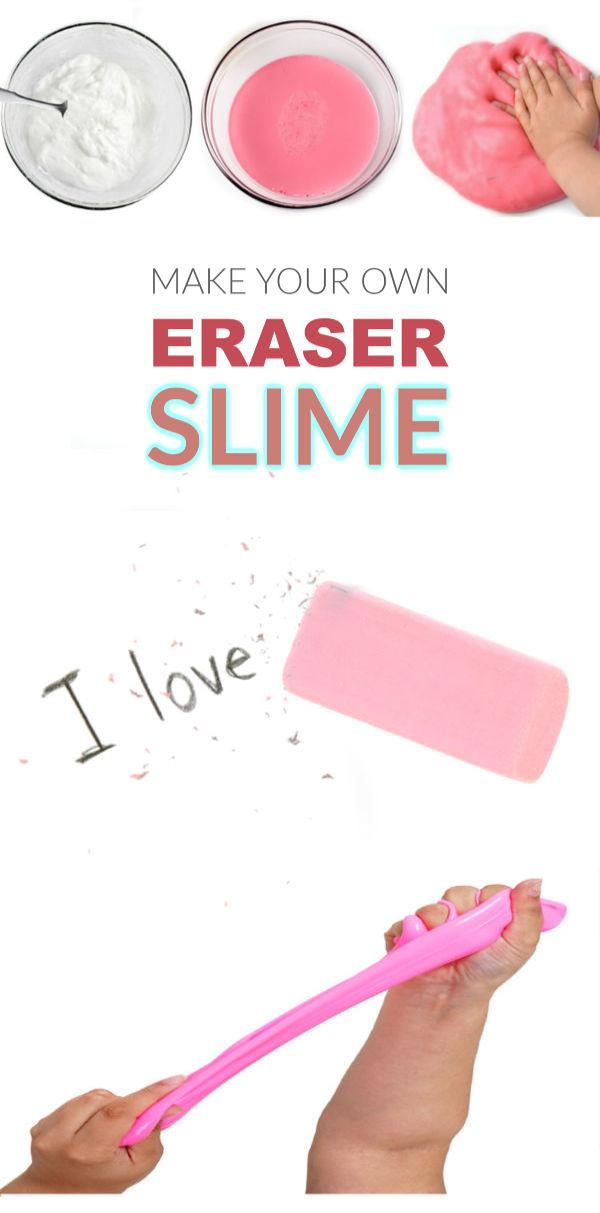 MAKE ERASER SLIME!  Easy recipe. #slime #slimerecipe #slimerecipeeasy #eraserslime #eraserslimerecipe #howtomakeslime #slimeforkids #growingajeweledrose