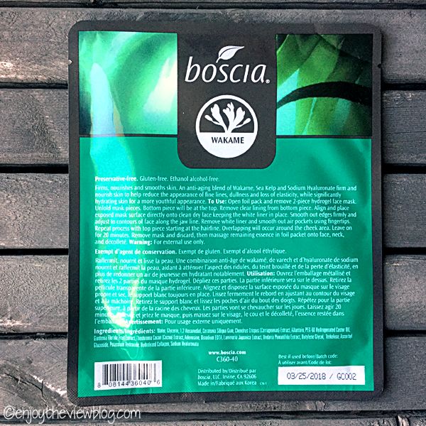 back of the Wakame Firming Hydrogel Mask from boscia package displaying instructions and ingredients