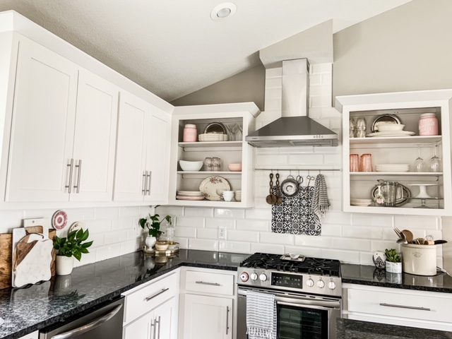 hang a spring rod and s hooks for kitchen storage