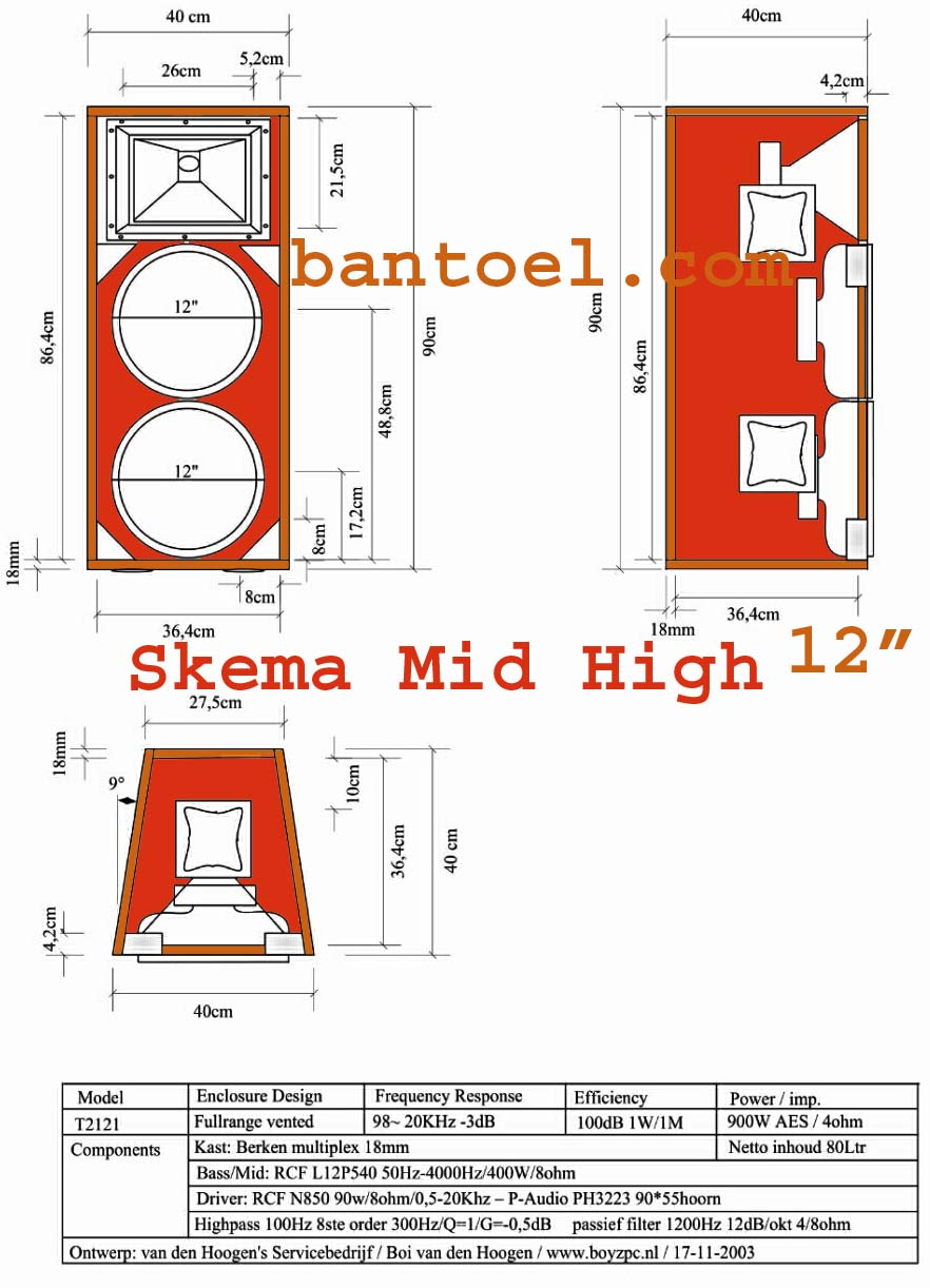 Skema box speaker mid high 12 inch