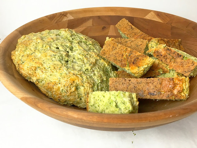 Bowl of Cheddar Broccoli Quick Bread and Slices