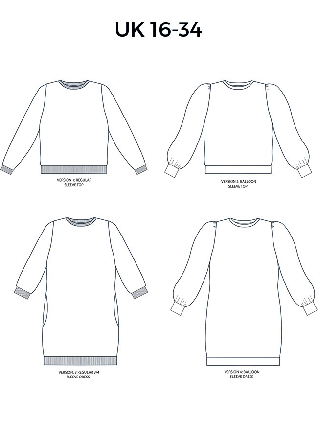 Billie sweatshirt and dress sewing pattern in UK 16-34 from Tilly and the Buttons