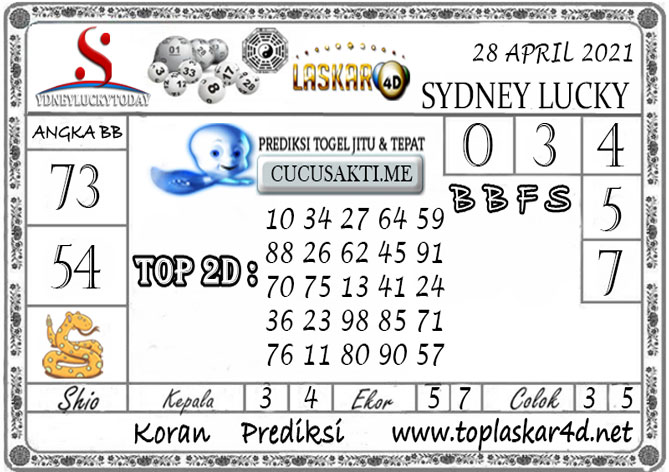 Prediksi Sydney Lucky Today LASKAR4D 28 APRIL 2021