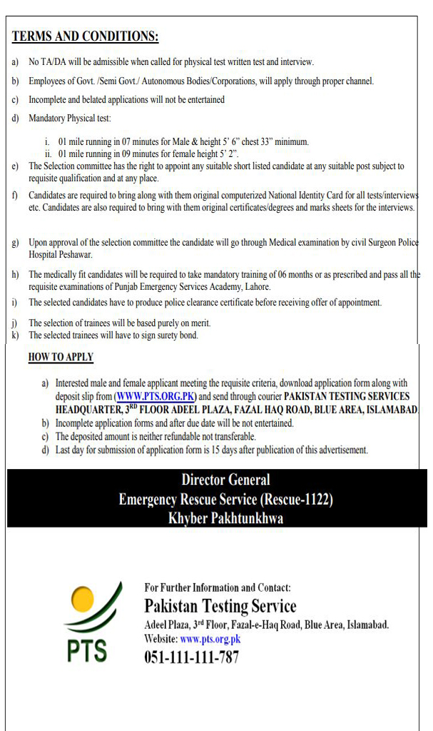 Emergency Service Rescue 1122 KPK Jobs 2019 Latest Advertisement
