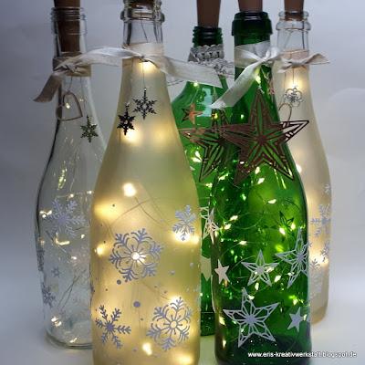 Leuchtflaschen mit Sternen und Schneeflocken Stampin' Up! www.eris-kreativwerkstatt.blogspot.de