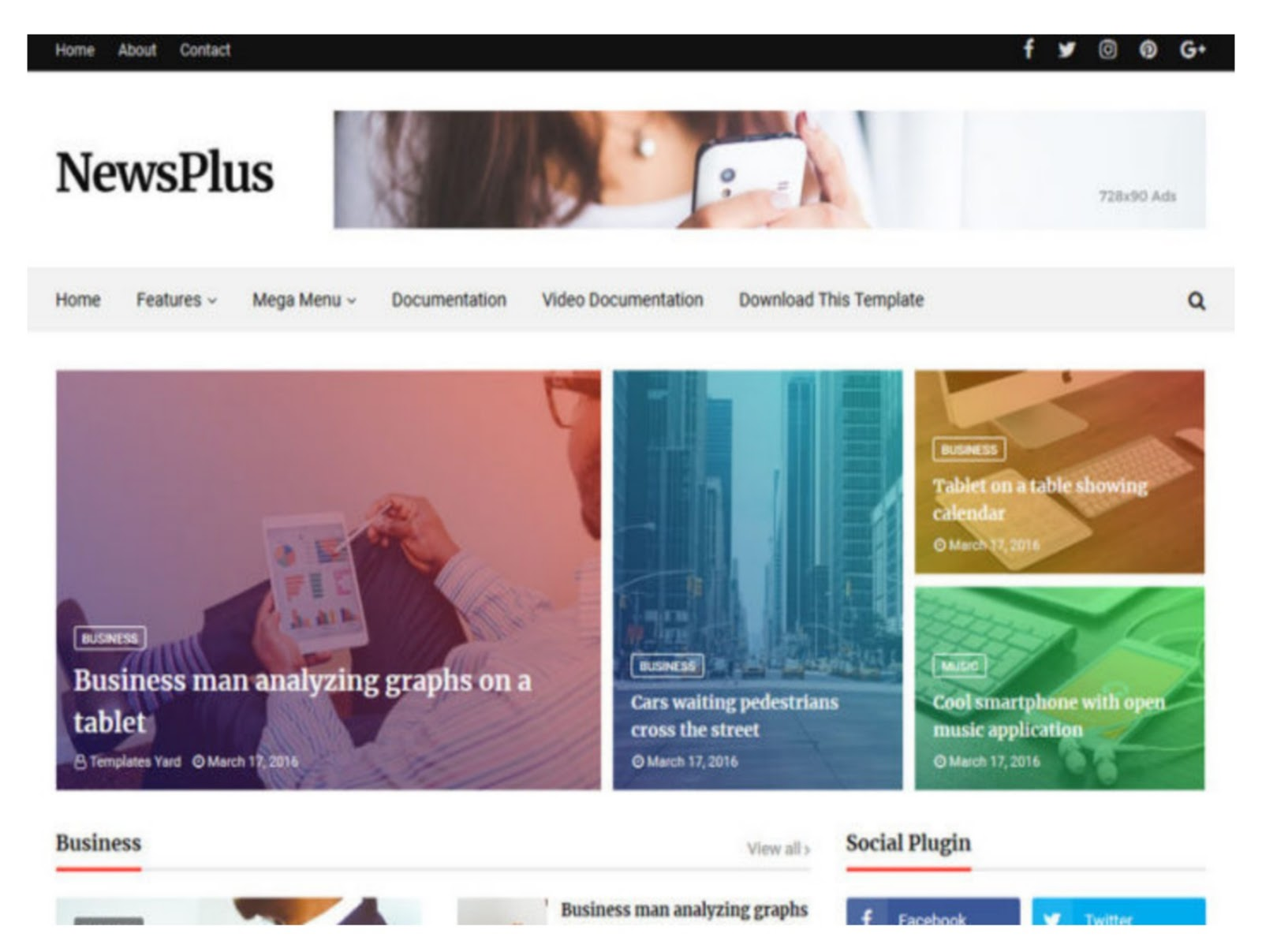 News Plus Magazine Blogger Template