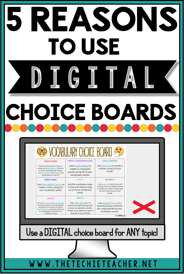 5 Reasons to Use Digital Choice Boards in the Classroom: Personalize learning with digital choice boards and activities. Great way to integrate technology into the classroom while providing a rich learning experience for a variety of learners. Digital differentiation! Think of it like a hyperdoc or hyperslide :)