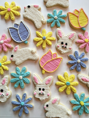 Easter Themed Cookies with Bunnies, Tulips and Daisies