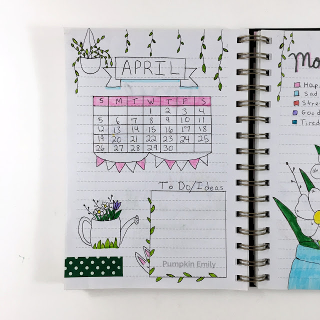 April Bullet Journal Calendar Page