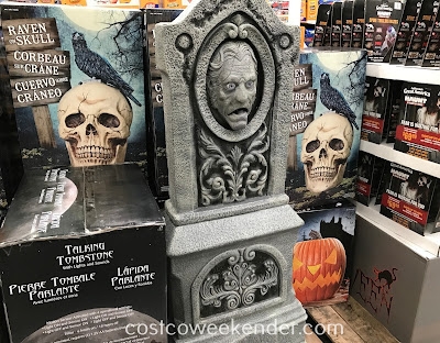 Decorate your home for Halloween with the 58in Talking Tombstone with Lights and Sounds