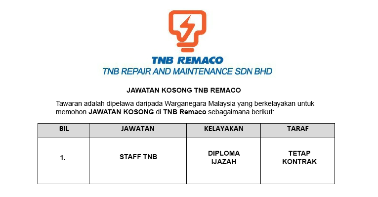 Tenaga Nasional Berhad Repair and Maitenance TNB Remaco [ Jawatan Kosong ]