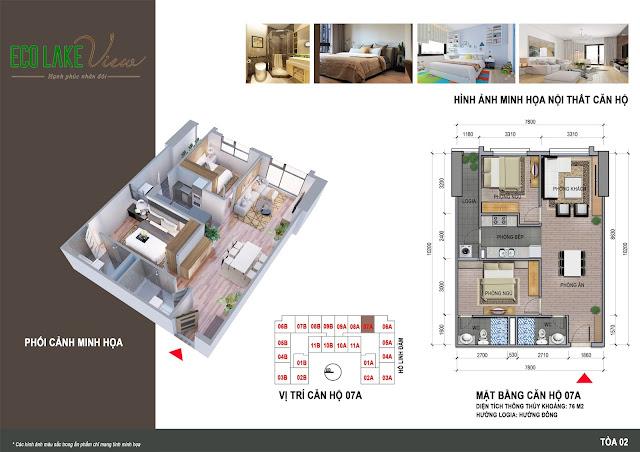 Thiết kế căn hộ 07A tòa HH2 chung cư ECO LAKE VIEW