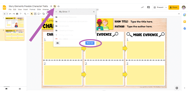 Screenshot depicting how to move a Google Slides file within Google Drive