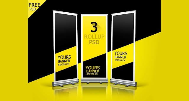 3 بنرات أعلانية موك أب أحترافية | Roll Up Banner Free PSD Mockup